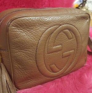 uthentic GUCCI Pebbled Calfskin Soho Disco Bag